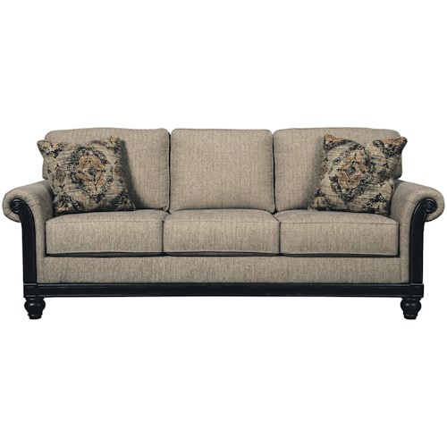 Signature Design by Ashley Blackwood Transitional Sofa with Rolled Arms & Showood Trim in Dark Finish