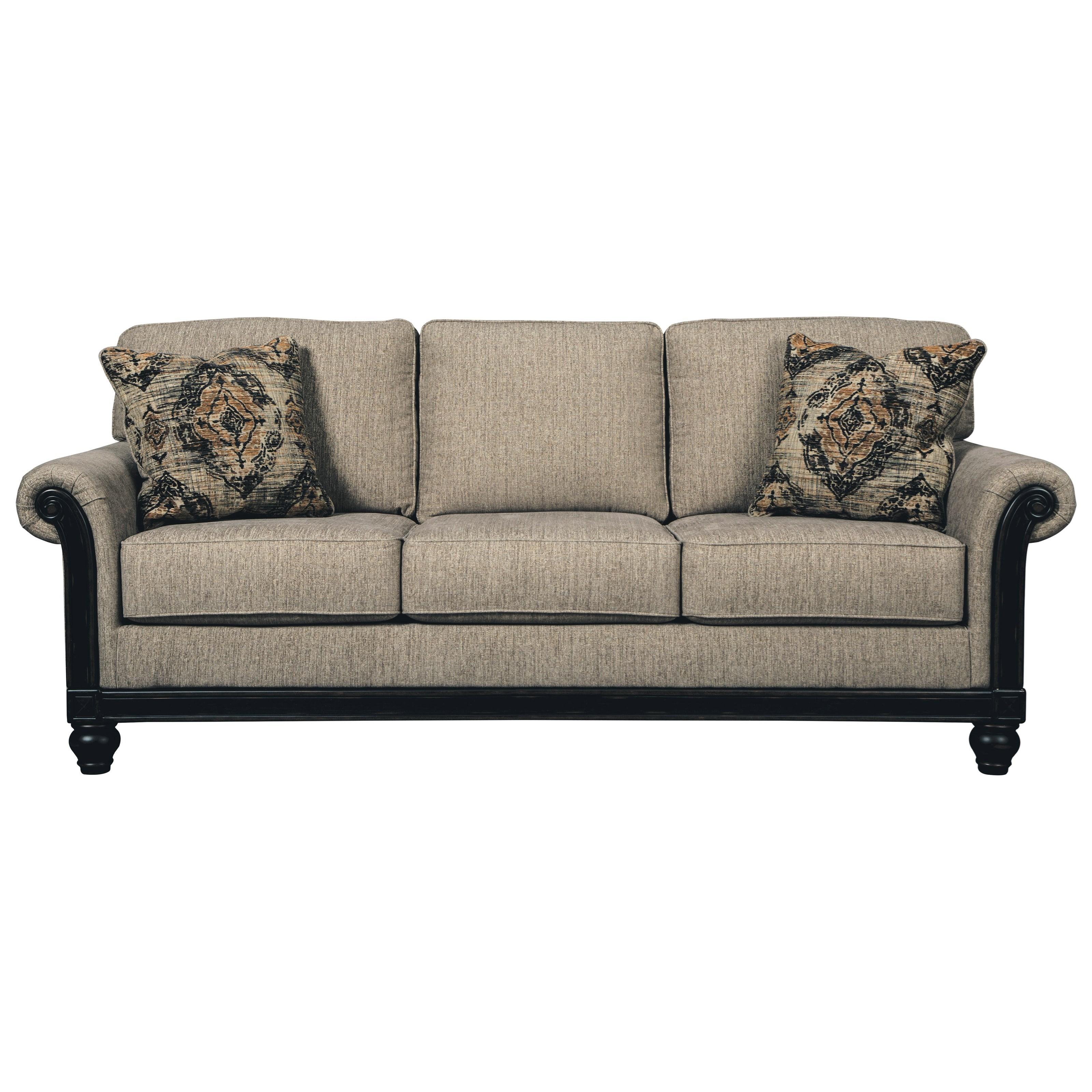signature design by ashley blackwood transtional queen sofa sleeper with memory foam mattress - Queen Sofa Sleeper