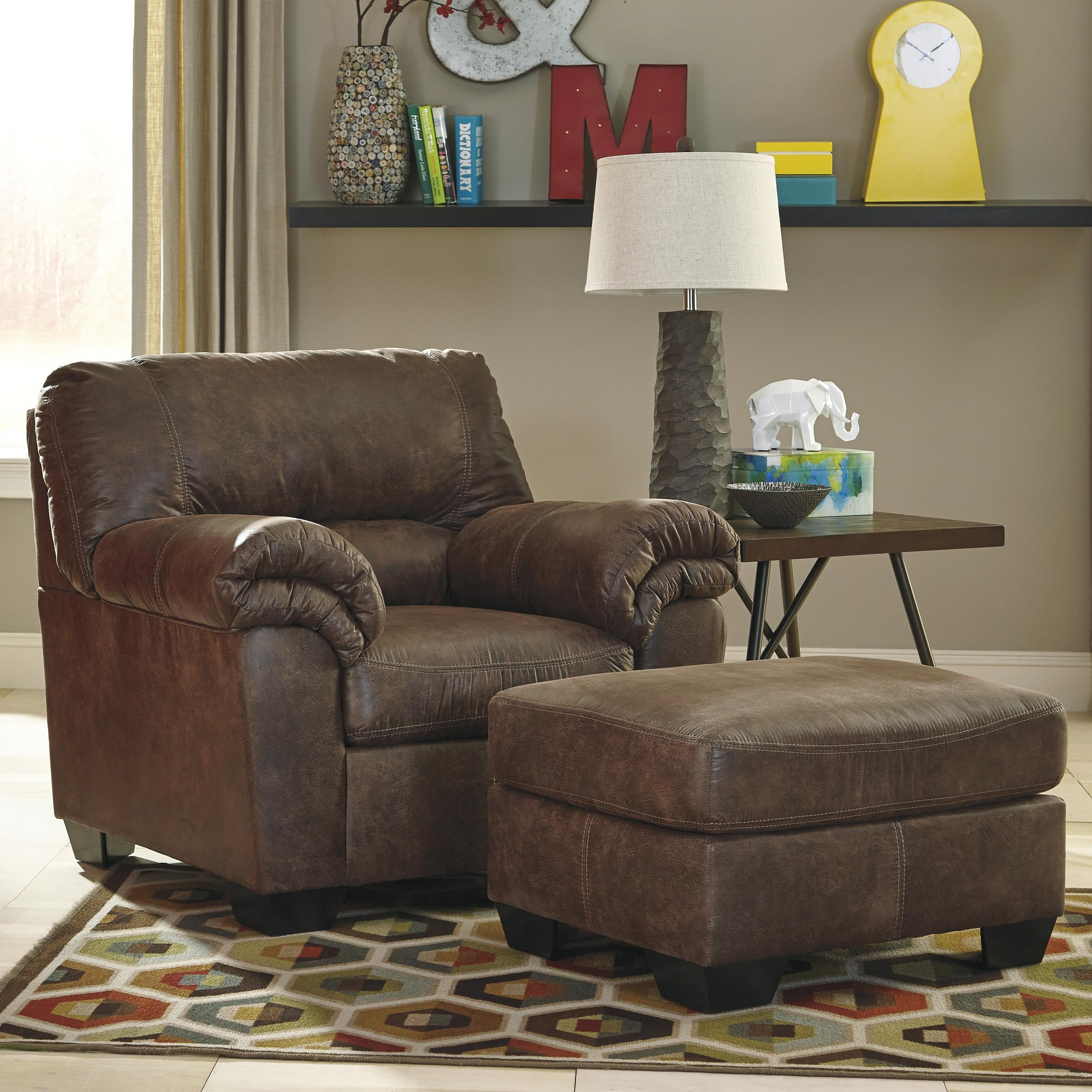 Signature Design By Ashley Bladen Casual Faux Leather Chair U0026 Ottoman
