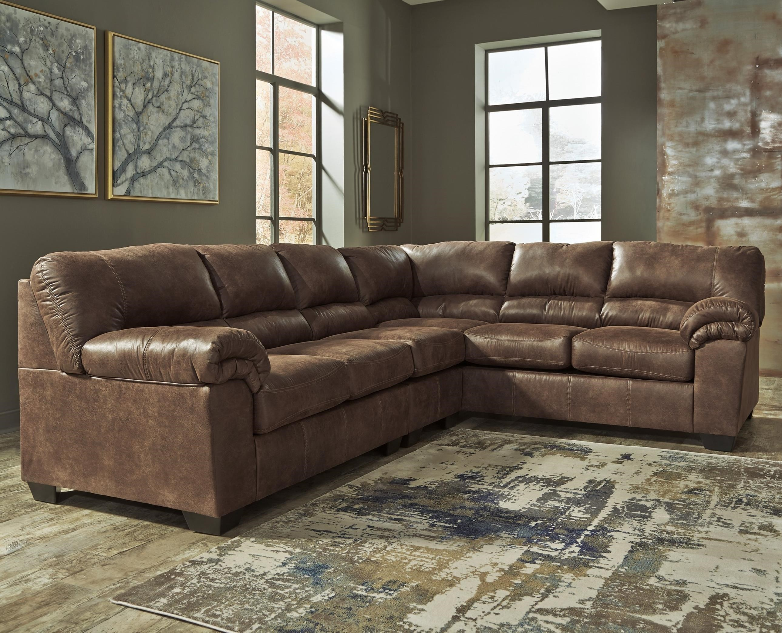 Signature Design by Ashley Bladen 3-Piece Faux Leather Sectional  sc 1 st  Wayside Furniture : 3 piece leather sectional - Sectionals, Sofas & Couches