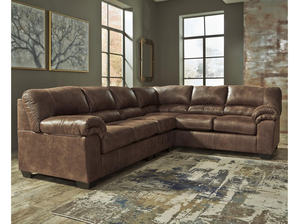 Signature Design By Ashley Bladen 3 Piece Faux Leather Sectional