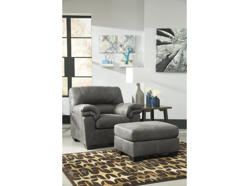 outlet store ff5f0 3d15f Bladen Casual Faux Leather Ottoman by Signature Design by Ashley at  Household Furniture