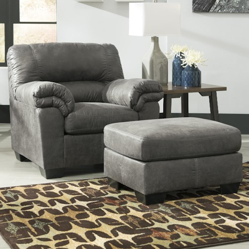 Signature Design by Ashley Bladen Casual Faux Leather Chair & Ottoman