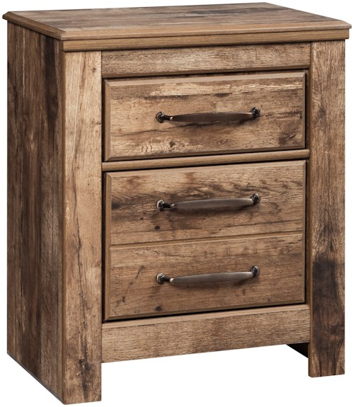 Signature Design by Ashley Blaneville Two Drawer Night Stand with USB Charging Ports