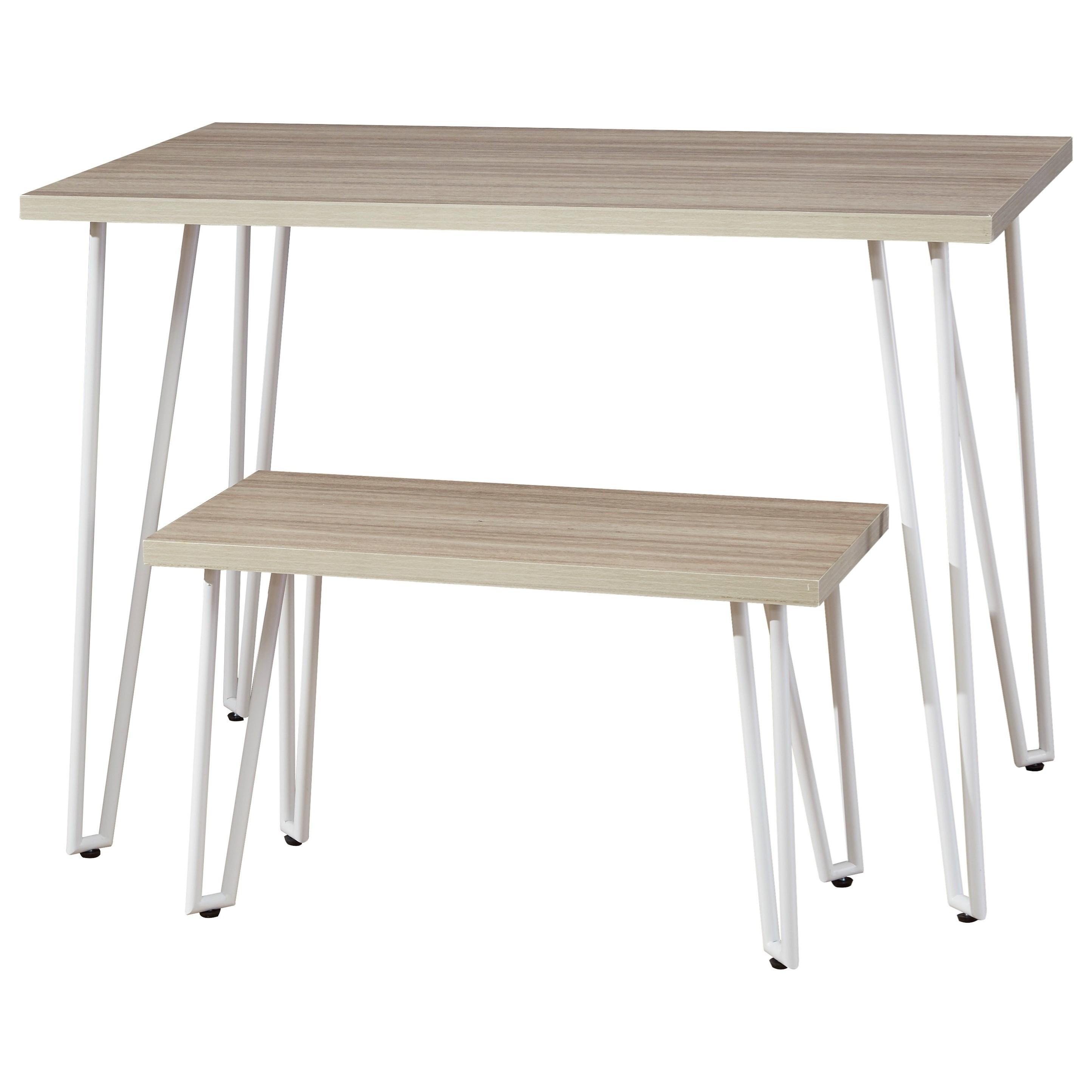 White Finish Hairpin Leg Desk w/ Bench