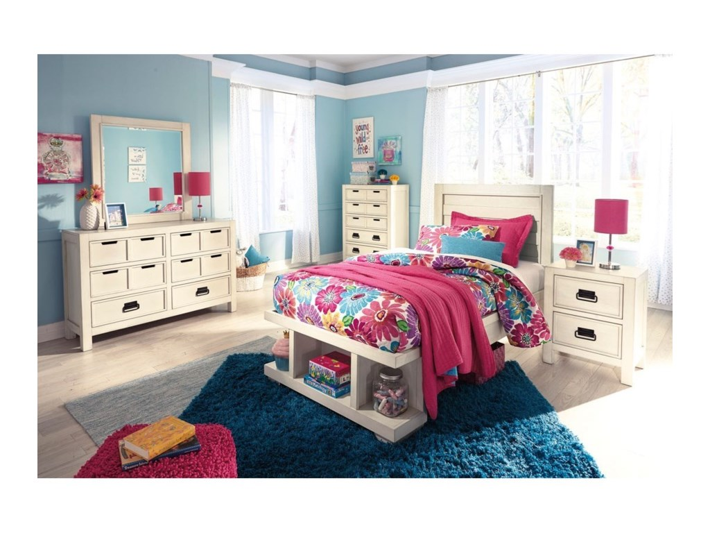 storage w sw ashley trundle bed panel twin