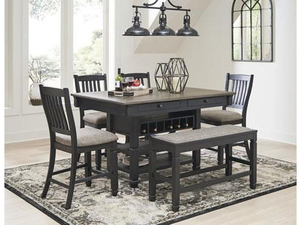 Signature Design by Ashley Tyler Creek6-Piece Counter Table with Bench and Stools