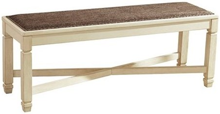Signature Design by Ashley Bolanburg Relaxed Vintage Upholstered Dining Room Bench with Nailhead Trimming