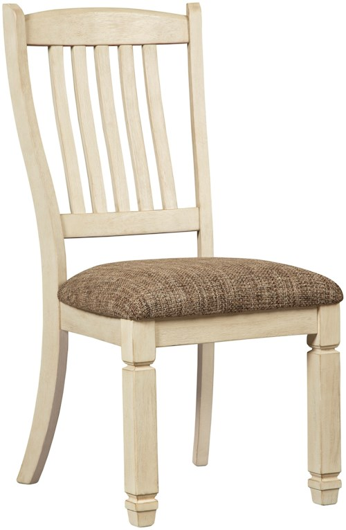 Signature Design by Ashley Bolanburg Relaxed Vintage Upholstered Side Chair with Slat Back