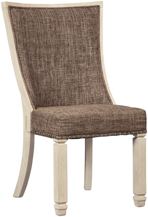 Signature Design by Ashley Bolanburg Relaxed Vintage Upholstered Side Chair with Back Motif