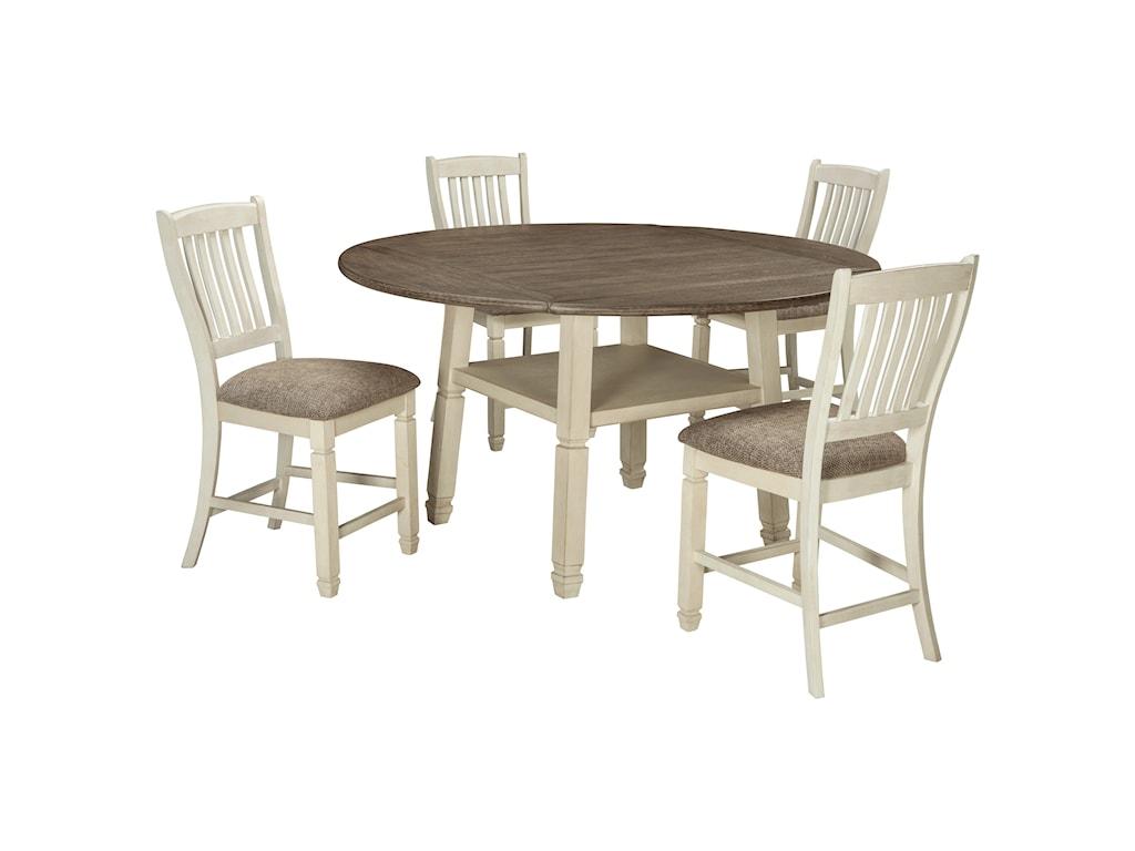 Ashley (Signature Design) Bolanburg5 Piece Round Drop Leaf Counter Table Set