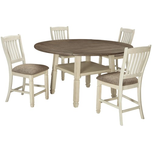 Signature Design by Ashley Bolanburg Relaxed Vintage 5 Piece Square/Round Drop Leaf Counter Table Set