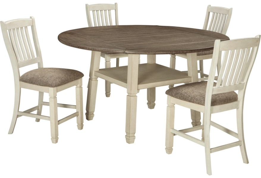 Signature Design By Ashley Thomas 5 Piece Counter Height Dining Set With Square Round Drop Leaf Counter Height Table And Four Stools Crowley Furniture Mattress Pub Table And Stool Sets