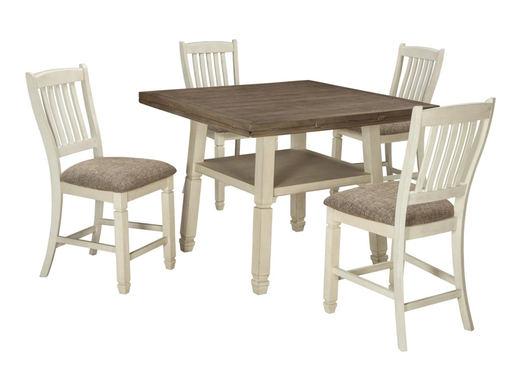 Signature Design by Ashley Bolanburg5-Piece Round Drop Leaf Counter Table Set