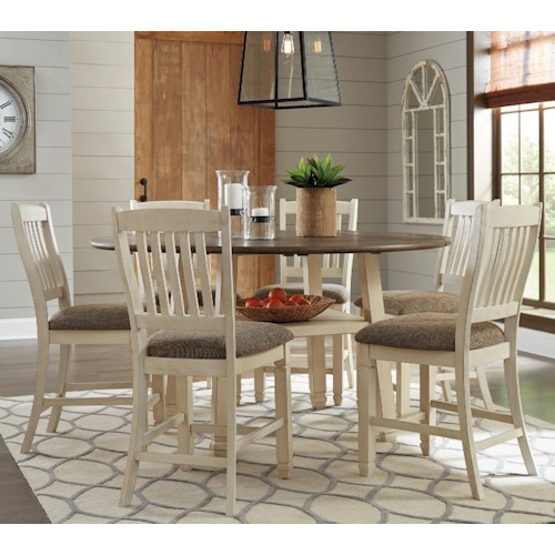 Signature Design by Ashley Bolanburg Relaxed Vintage 7 Piece Square/Round Drop Leaf Counter Table Set