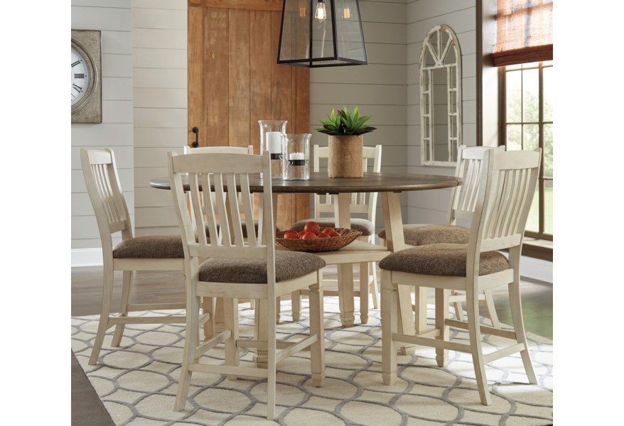 Signature Design Bolanburg Relaxed Vintage 7 Piece Square Round Drop Leaf Counter Table Set Fisher Home Furnishings Pub Table And Stool Sets