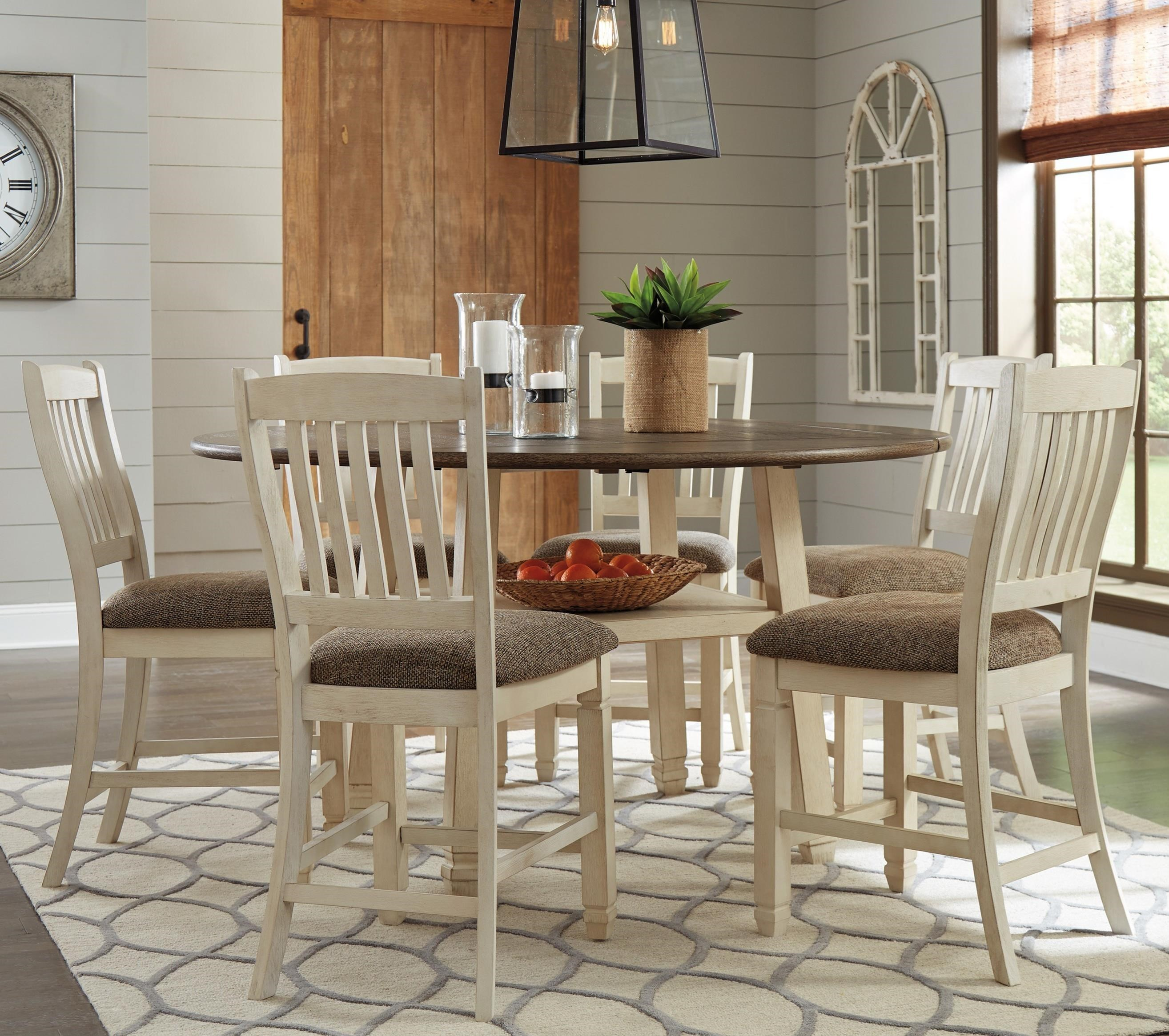 Signature Design By Ashley Bolanburg7 Piece Round Drop Leaf Counter Table  Set ...