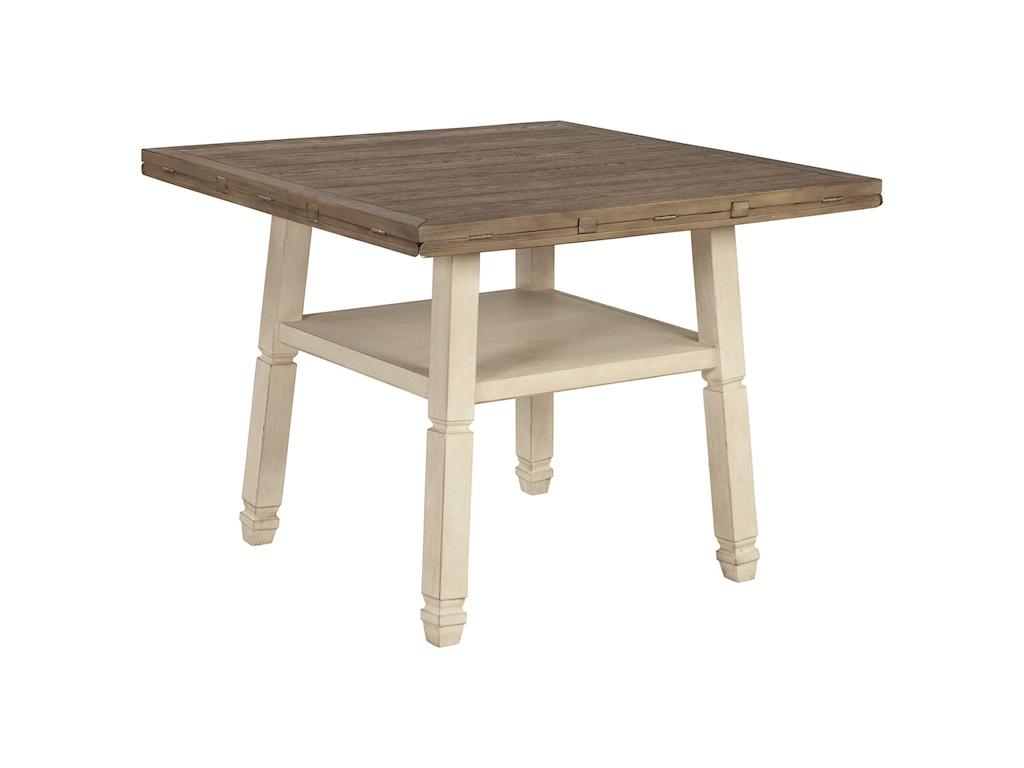 Signature Design by Ashley Bolanburg7 Piece Round Drop Leaf Counter Table Set