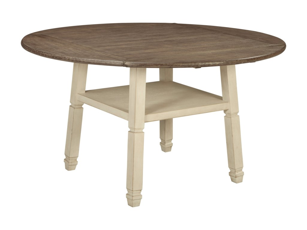 Signature Design By Ashley Bolanburg Square Round Drop Leaf Counter Table With Shelf Royal Furniture Pub Tables