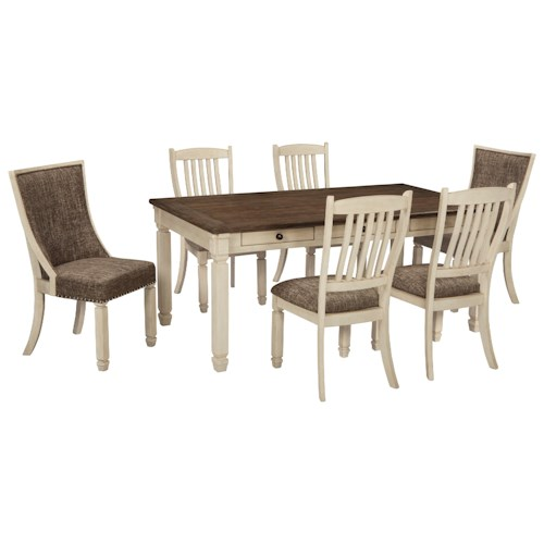 Signature Design by Ashley Bolanburg Relaxed Vintage 7 Piece Table and Chair Set