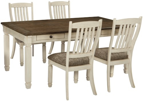 Signature Design by Ashley Bolanburg Relaxed Vintage 5 Piece Table and Chair Set