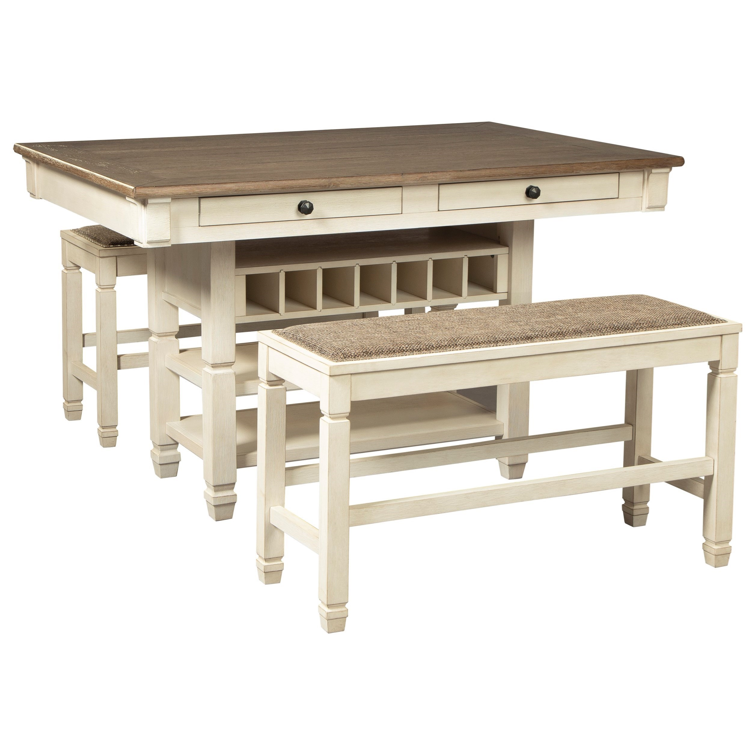 Relaxed Vintage 3-Piece Counter Table with Wine Storage and Bench Set