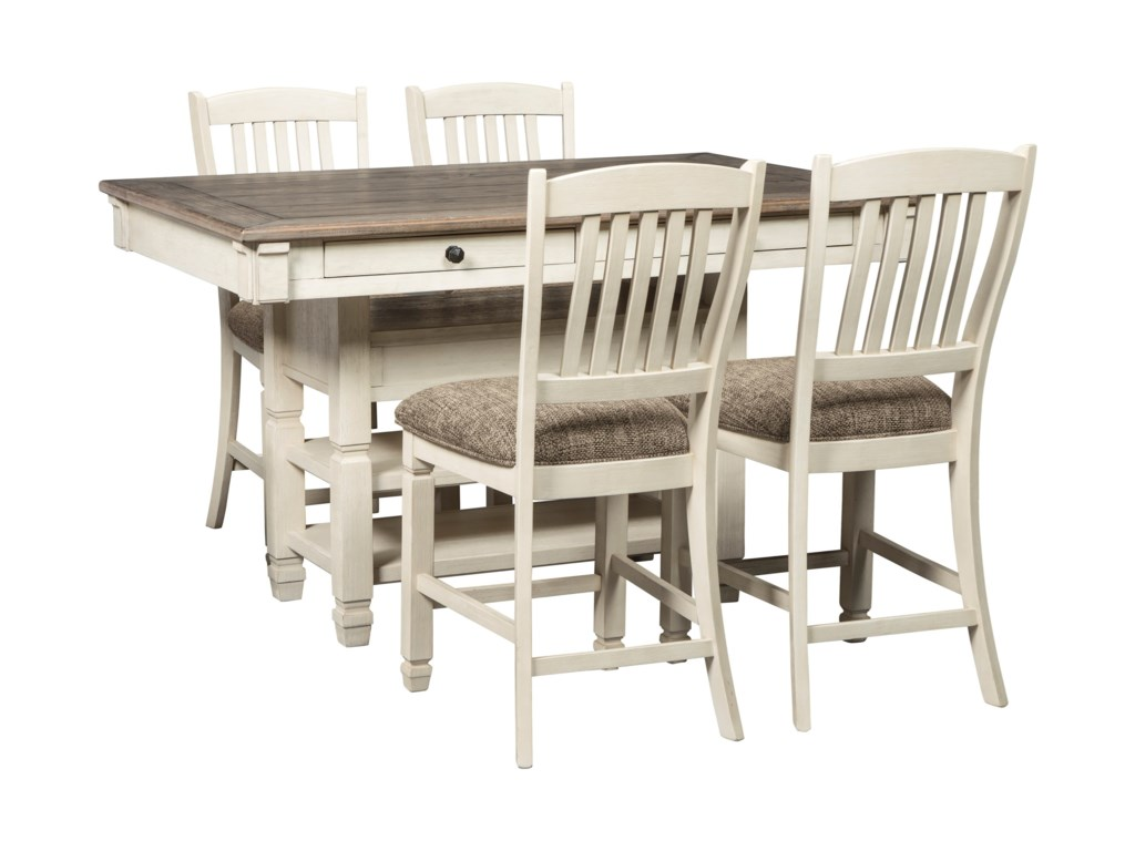 Signature Design by Ashley Bolanburg5 Piece Counter Table and Stool Set