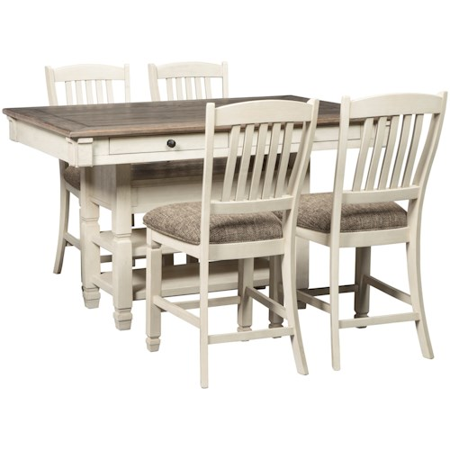 Signature Design by Ashley Bolanburg Relaxed Vintage 5-Piece Counter Table with Wine Storage and Stool Set