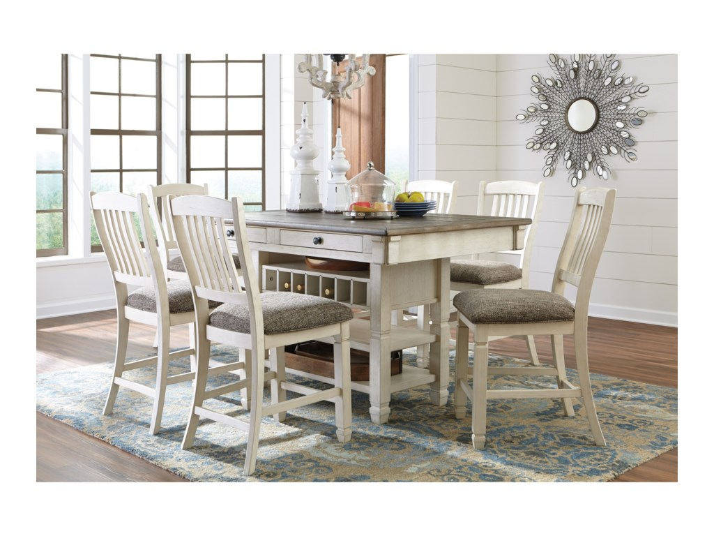 Signature Design by Ashley Bolanburg7 Piece Counter Table and Stool Set