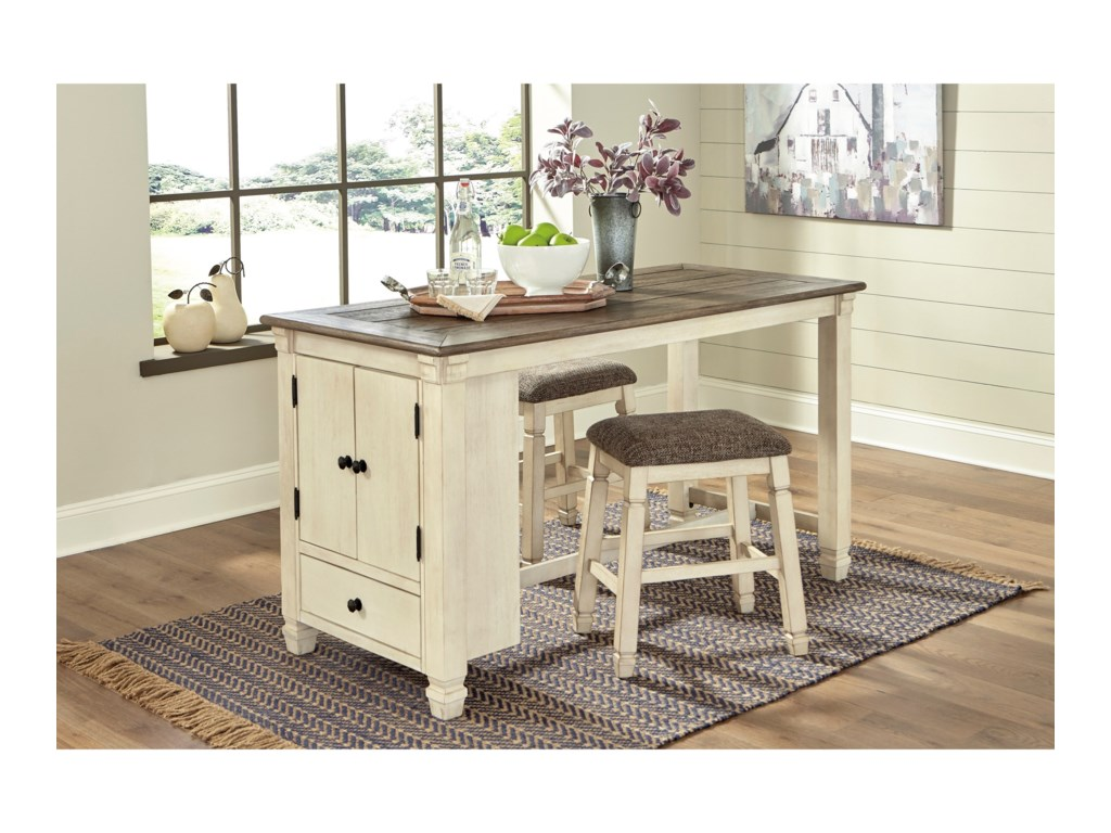Signature Design by Ashley Bolanburg3-Piece Rect. Dining Room Counter Table Set