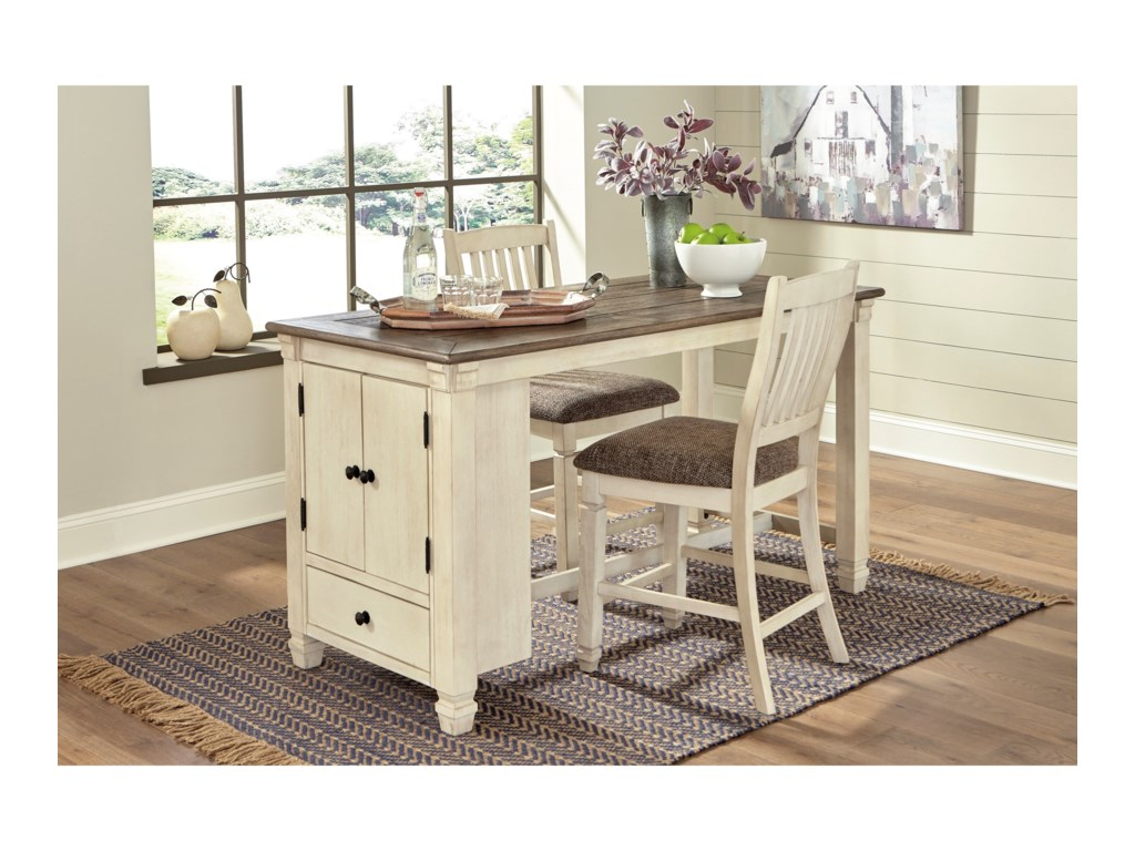 Ashley (Signature Design) Bolanburg3-Piece Rect. Dining Room Counter Table Set