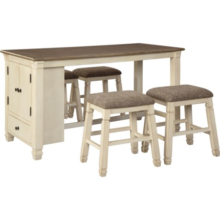 5-Piece Rect. Dining Room Counter Table Set