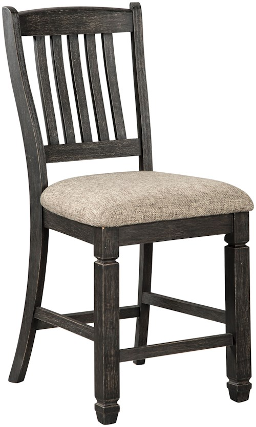 Signature Design by Ashley Tyler Creek Relaxed Vintage Upholstered Bar Stool with Slat Back