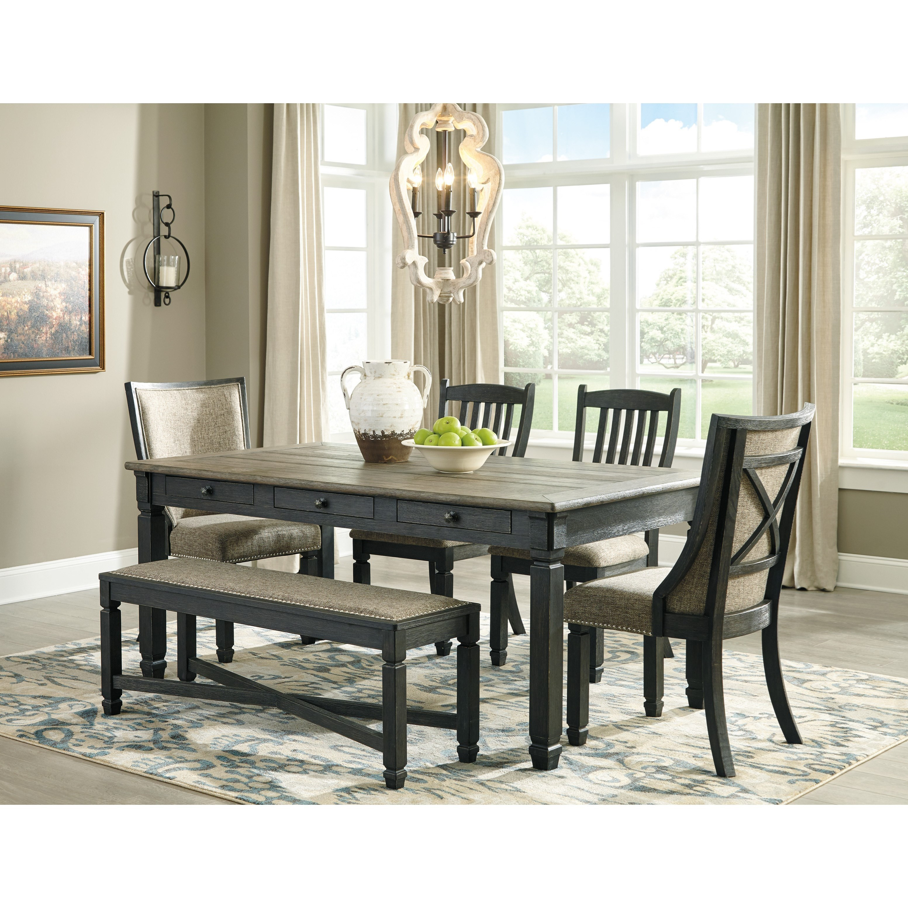 Signature Design By Ashley Tyler Creek6 Piece Table And Chair Set ...