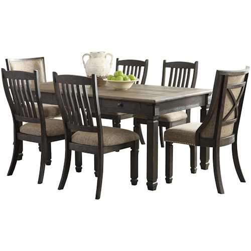 Signature Design by Ashley Tyler Creek Relaxed Vintage 7-Piece Table and Chair Set