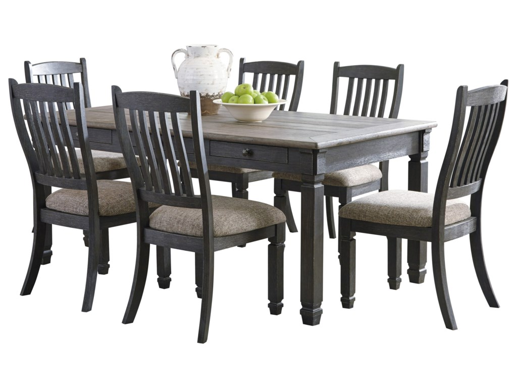 Signature Design by Ashley Tyler Creek Relaxed Vintage 7-Piece Table ... 25d2cbfa6006