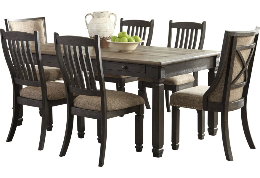 Signature Design By Ashley Tyler Creek 000000751084 Relaxed Vintage Rectangular Dining Room Table With 6 Drawers Gill Brothers Furniture Dining Tables