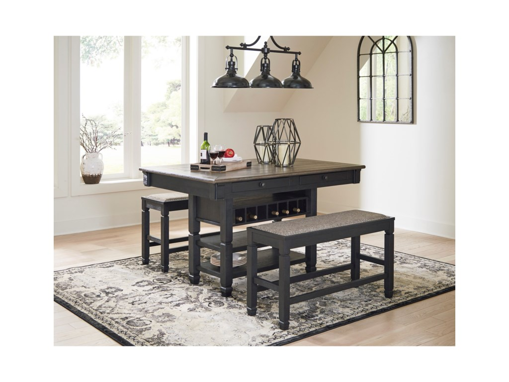Signature Design by Ashley Tyler Creek3-Piece Counter Table and Bench Set