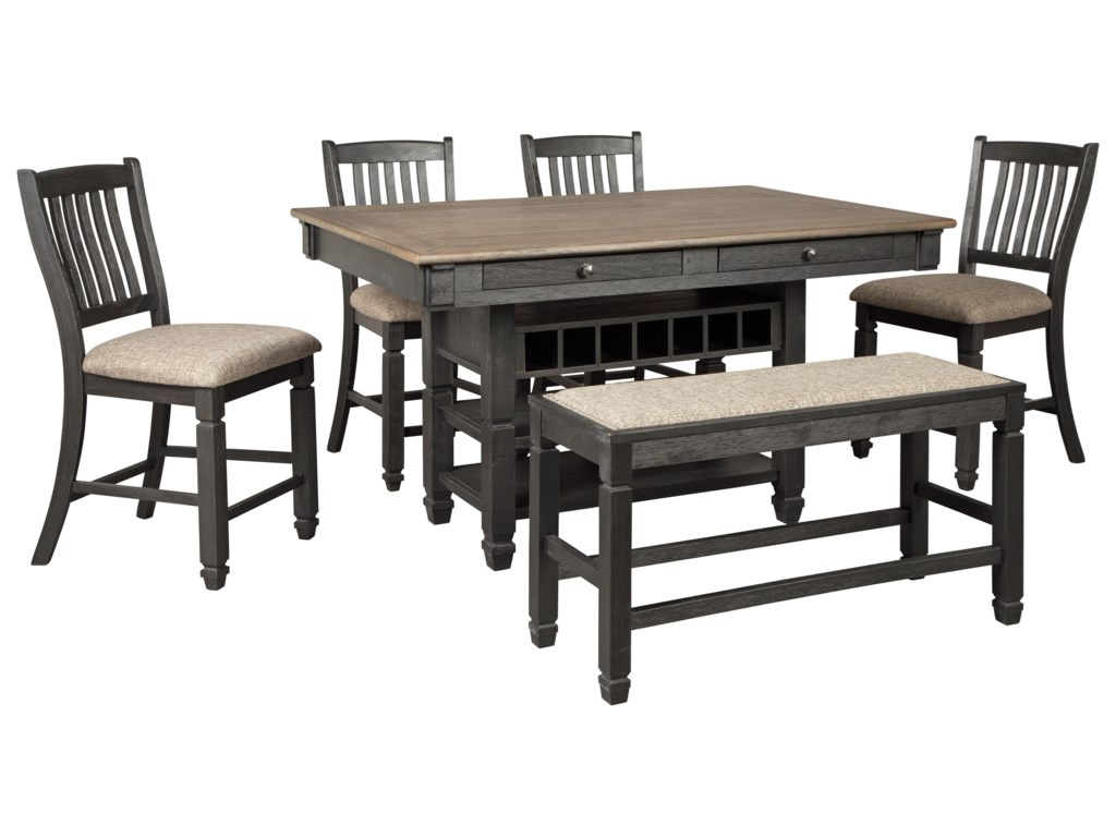 Signature Design by Ashley Tyler Creek6-Piece Counter Table Set with Bench