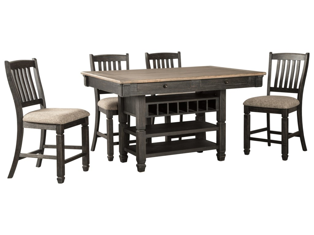 Signature Design By Ashley Tyler Creek5 Piece Counter Table And Stool Set