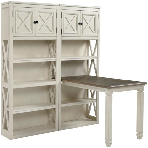 Signature Design by Ashley Bolanburg Return Desk with Two Bookcases