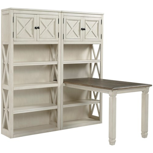 Signature Design by Ashley Bolanburg Return Desk with Two Bookcases