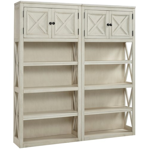 Signature Design by Ashley Bolanburg 2 Large Open Bookcases with Doors