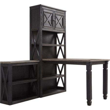 Return Desk with 2 Bookcases