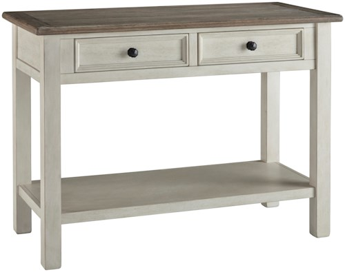 Signature Design by Ashley Bolanburg Sofa Table with 2 Drawers