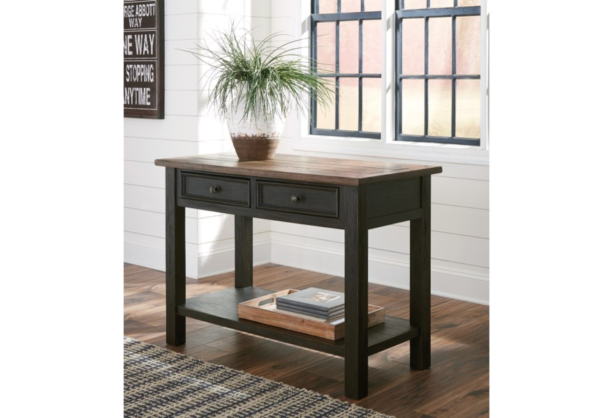 Tyler Creek Sofa Table with 2 Drawers by Ashley Signature Design at Dunk &  Bright Furniture