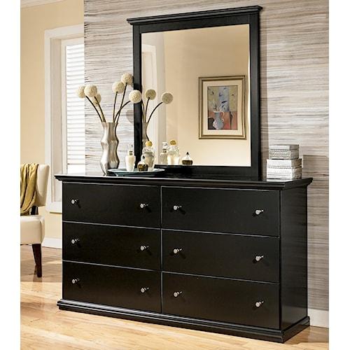Signature Design by Ashley Maribel Casual 6 Drawer Dresser and Moulded Landscape Mirror