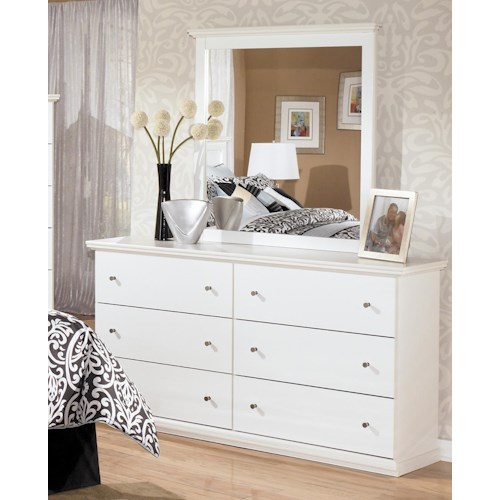 Signature Design by Ashley Bostwick Shoals Casual 6 Drawer Dresser and Moulded Landscape Mirror