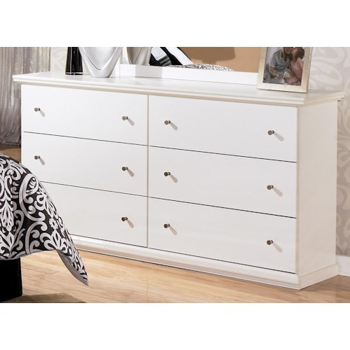 Signature Design by Ashley Bostwick Shoals Casual Cottage 6 Drawer Dresser with Metal Knobs