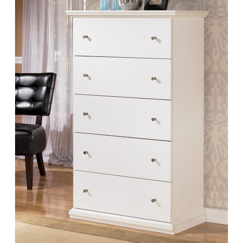 Signature Design by Ashley Bostwick Shoals Casual Cottage 5 Drawer Chest with Pewter Color Accents